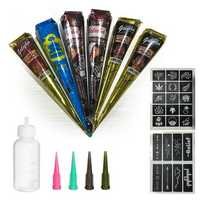 Temporary Tattoo Set, 6 Tattoo Paste Cones of 4 Colors, 4 Ne