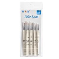 H&B 12 Pcs/Set Nylonhair Hook Line Pens Nylon Brush Painting Pens Brush Art Stationery Watercolor Drawing Painting Brush Pens Children DIY Art Supplies Tool