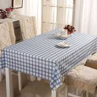 PVC Tasteless Waterproof Tablecloth Transparent Soft Glass Table Mat Stripe Grid Printing Table Cloth