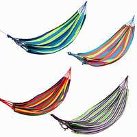 Outdoor Colorful Stripe Canvas Hammock Swing Lying Recline Bed For Camping Hiking Picnic