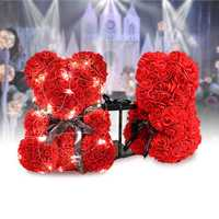 Teddy Flower Bear PE Foam Rose With LED String Light For Valentine's Day Gifts Decor