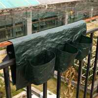 6 Pockets Garden Balcony Hanging Pot PE Planting Bag Plants Baluster Railing Grow Bags Flower Pot