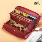 Meilleurs prix Brenice Women RFID Blocking Cowhide Zipper Long Wallet Large Capacity Card Holder Coin Purse