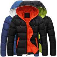 Mens Winter Contrast Color Outdoor Warm Hooded Padded Jacket