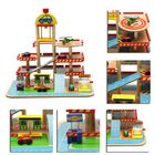 Meilleurs prix Assembling Simulation Large Stereo Three Layer Wooden Car Parking Lot Track Set For Kids Toys Gift