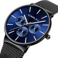 CRRJU 2155 Men Sapphire Blue Steel Quartz Watch