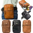 Acheter Men Genuine Leather Double Zipper Waist Bag Crossbody Bag