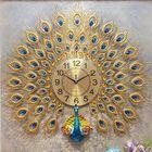 Acheter au meilleur prix 3D Large Wall Clock Luxury Peacock Metal Living Room Wall Watch Home Decoration