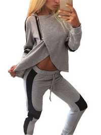 Sexy Gray Black Patchwork Zipper Split Hood Women Tracksuit Sportsuit