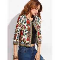 O-NEWE Vintage Women Embroidery Patchwork Printed Short Jacket