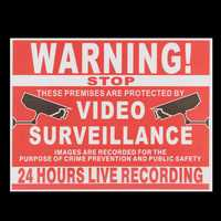 Premises Projected By Video Surveillance CCTV Camera Recording Sign Safety Sticker
