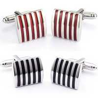 Men Cuff Links Color Stripe Metal Copper Enamel Square Accessories for Shirt