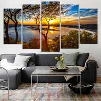 5 Panel Canvas Painting Sunset Lake Tree Seascape Landscape Poster Printing Wall Art Decor Picture
