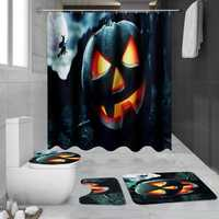 180x180cm Halloween Pumpkin Bathroom Shower Curtains Toliet Mat Rug With 12 Hooks