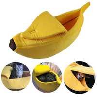 Pet Dog Cat Bed Warm House Mat Durable Kennel Doggy Soft Puppy Cushion Banana Shape Basket
