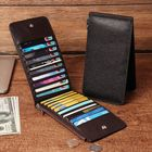 Offres Flash RFID Antimagnetic Men Genuine Leather Business Casual 20 Card Slots 5.5 Inch Phone Bag Long Wallet