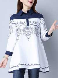 Women Vintage Embroidered Patchwork Top Nine Point Sleeve Turn-down Blouses