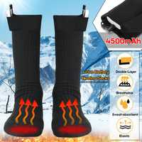 3.7V 4500MAH Double-Layer Electric Heated Heating Socks Heated Instep Toe Socks Rechargable Battery Foot Warmer Boot Stockings