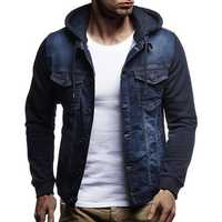 Men Casual Stitching Multi Pockets Hoodied Coat
