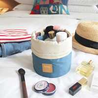 High Capacity Barrel Shaped Travel Cosmetic Bags