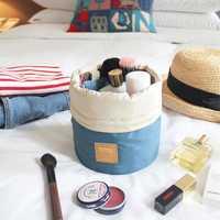High Capacity Barrel Shaped Travel Cosmetic Bags