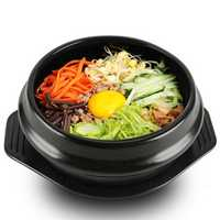 Korean DOLSOT Bowl Big Sized Earthenware Stone Pot Bibimbap Cooking + Trivet Set Rice Bowl