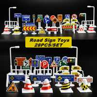 28Pcs Car Toy Traffic Road Signs Kids Funny Play Education Toy Game Accessories Toys