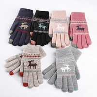 Women Girls Winter Crochet Knitted Warm Gloves Touch Screen Cute Deer Printing Mittens