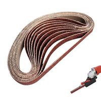 Drillpro 10pcs 60 to 600 Grit 15mm x 452mm Sanding Belts for Angle Grinder Sanding Belt Adapter