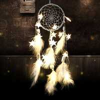 Handmade Dream Catcher Net With Feathers Beads Wall Hanging Decoration Stars String Lights Dream Catcher DIY Ornaments Innovative Gifts Wind Chimes Dream catcher Natural Feathers Wall Hanging Decor