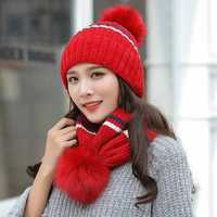 Women's Winter Dual-Use Striped Knit Hat Cycling Wool Cap