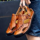 Promotion Men Genuine Leather Hollow Out Seaside Beach Sandals