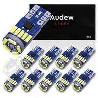 AUDEW 10PCS 4014 SMD T10 W5W LED Side Wedge Marker Lights CANBUS Error Free 12V 6712K White