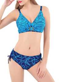 Women Sexy Plus Size Wireless Swimwear Line Printing Back Lace-Up Ruffle Bikinis Set