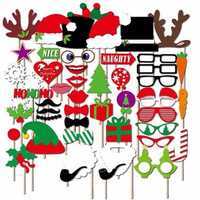 50pcs Christmas DIY Photo Booth Prop Party Supplies Fun Funny paper beard modeling shoot props