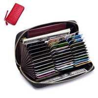 Women RFID Antimagnetic Genuine Leather Multi-slots Wallet