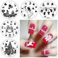 5pcs Christmas Nail Image Template Stamps Set Snowflake Bird Snowman Angel Santa Claus