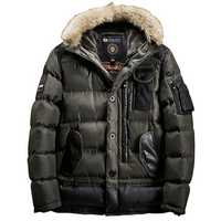 Mens Winter Pockets PU Splicing Decoration Thickened Warm Padded Hood Outerwear Parka Bomber Jacket