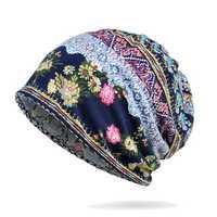 Women Winter Cotton Multi-purpose Flower Printing Beanie Cap
