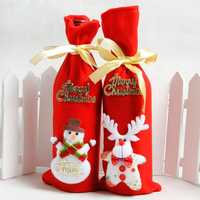 1pcs/bag Santa Claus Snowman Little Bear and Deer Red Bag Wine Bottle Gift Bag Decoration For New Year