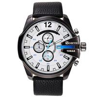 NORTH 6002 Fashion Men Quartz Watch Luxury Luminous Date Display Leather Strap Sports Watch