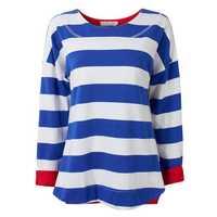 Casual Women Stripe Contrast Color Irregular Hem Split Sweater