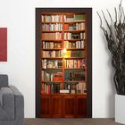 Meilleurs prix 200X77CM 3D Retro Bookshelves PVC Self Adhesive Door Wall Sticker Living Room Mural Decor