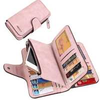 Women Large Capacity Matte PU Leather Phone Wallet for iPhone Mobile Phone Unver 5.5 Inches
