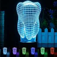 3D Illuminated Illusion Color Changing Touch Switch Tooth LED Desk Night Light Lamp Xmas Gift