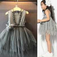 Gray Kids Girl Princess Sleeveless Dress Toddler Vintage Wedding Party Pageant Flower Bow Tulle Tutu