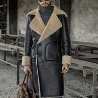 ChArmkpR Mens Mid-long Black Faux Leather Shearling Jacket