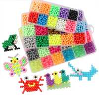 4800Pcs 24 Color Fuse Beads Water Sticky Beads DIY Craft Refill Water Spray Kid Art Toys Puzzles Tool Set