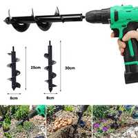 10 or 12 Inch Length Irrigating Planting Auger Drill Bit Digs Hole For Bulb Plant