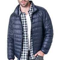 Mens Winter Lightweight Warm Padded Jacket Solid Color Coat